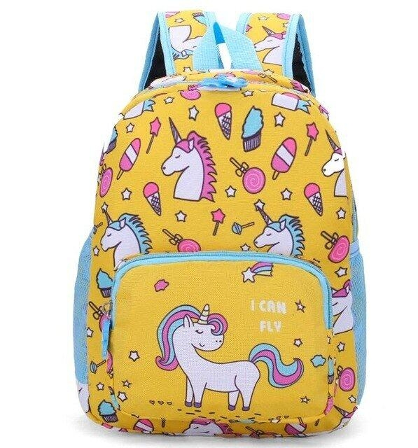 backpack unicorn school yellow