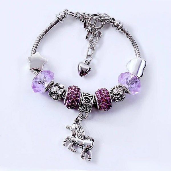 bracelet unicorn purple 20 cm jewelry unicorn