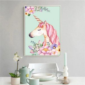 canvas head of unicorn 40x50cm