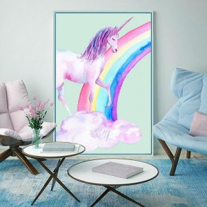 canvas unicorn bow in sky 60x90cm not dear