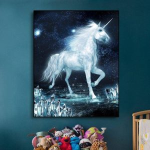 canvas unicorn dark 72x90cm canvas unicorn