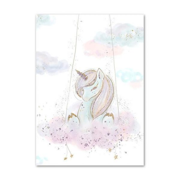 canvas unicorn perched 60x100cm price