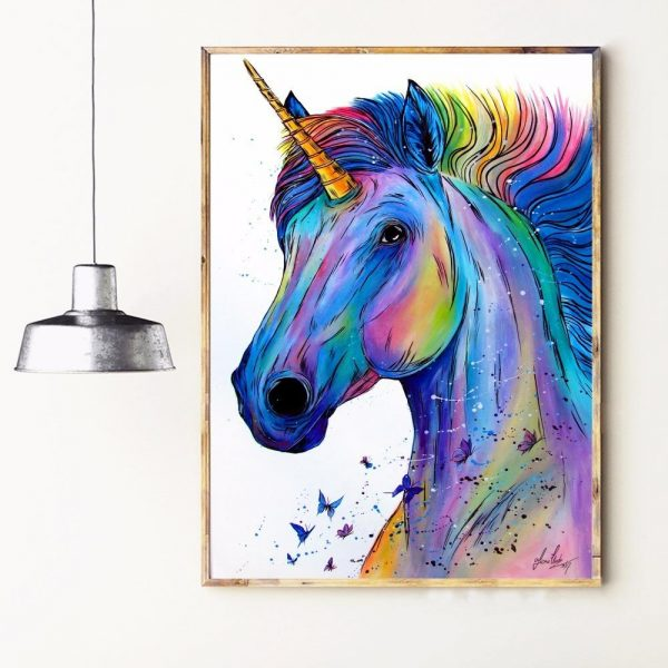 canvas unicorn powerful 60x90cm