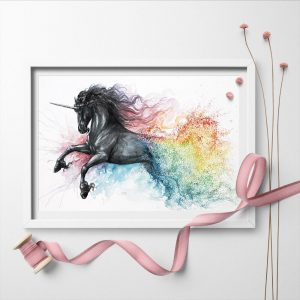 canvas unicorn watercolor 75x50cm buy