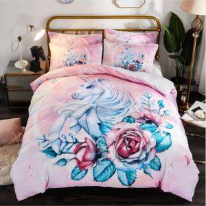 cover of quilt flowery pink unicorn 180x200 buy