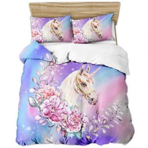 cover of quilt flowery true unicorn 180x200 decoration unicorn