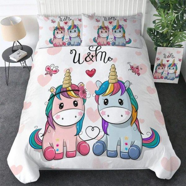cover of quilt white of them unicorn 90x190 price