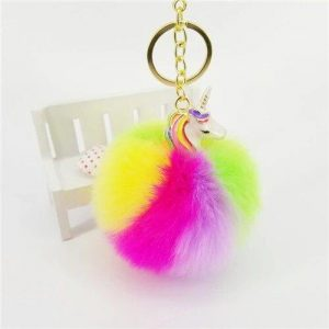 door key pompom unicorn multicolored price
