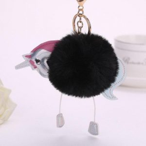 door key unicorn pompom black door key unicorn