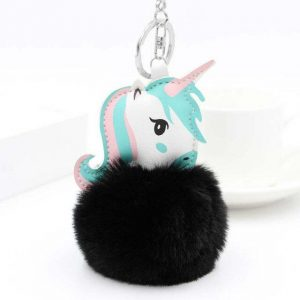 door key unicorn pompom black not dear