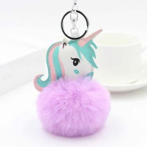 door key unicorn pompom purple at sell