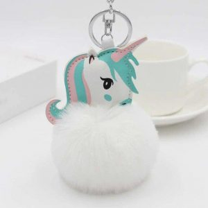 door key unicorn pompom white