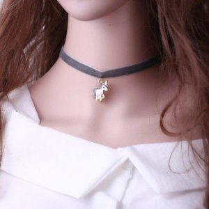 necklace ras of neck unicorn grey grey price