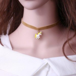 necklace ras of neck unicorn yellow not dear