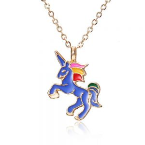 necklace unicorn blue blue not dear