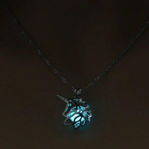 necklace unicorn fluorescent blue necklace unicorn