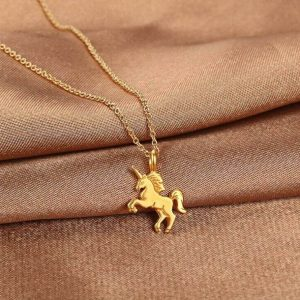 necklace unicorn gold not dear