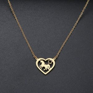 necklace unicorn heart gold 45 cm necklace unicorn
