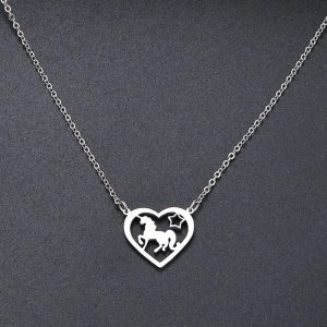 necklace unicorn heart money 45 cm unicorn toys store