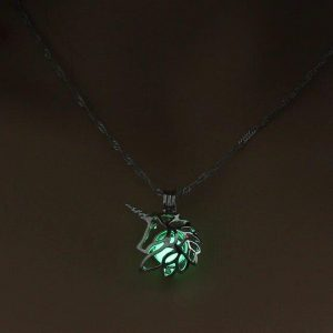necklace unicorn luminous green price