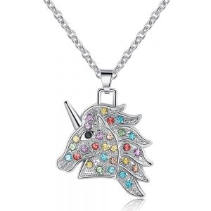 necklace unicorn pierre multicolored 45 cm adjustable necklace unicorn
