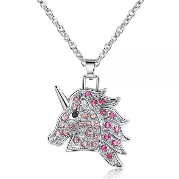 necklace unicorn pierre pink 45 cm adjustable at sell