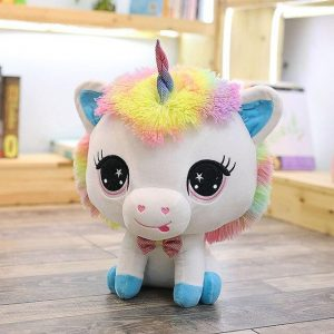 plush unicorn blue big head 35 cm unicorn toys store