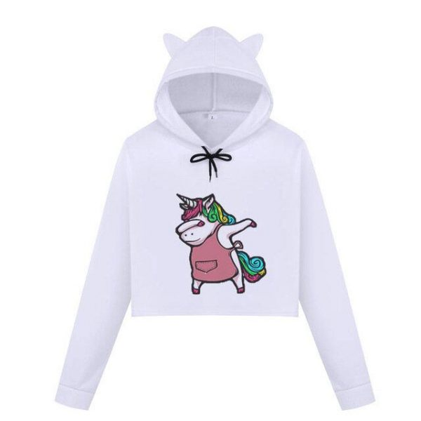 sweat crop top unicorn women dab xxl not dear