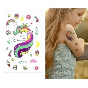 tattoo ephemeral unicorn girl